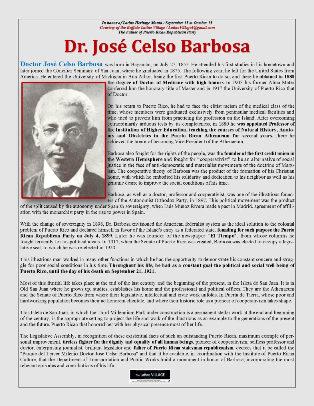 Dr Jose Celso Barbosa