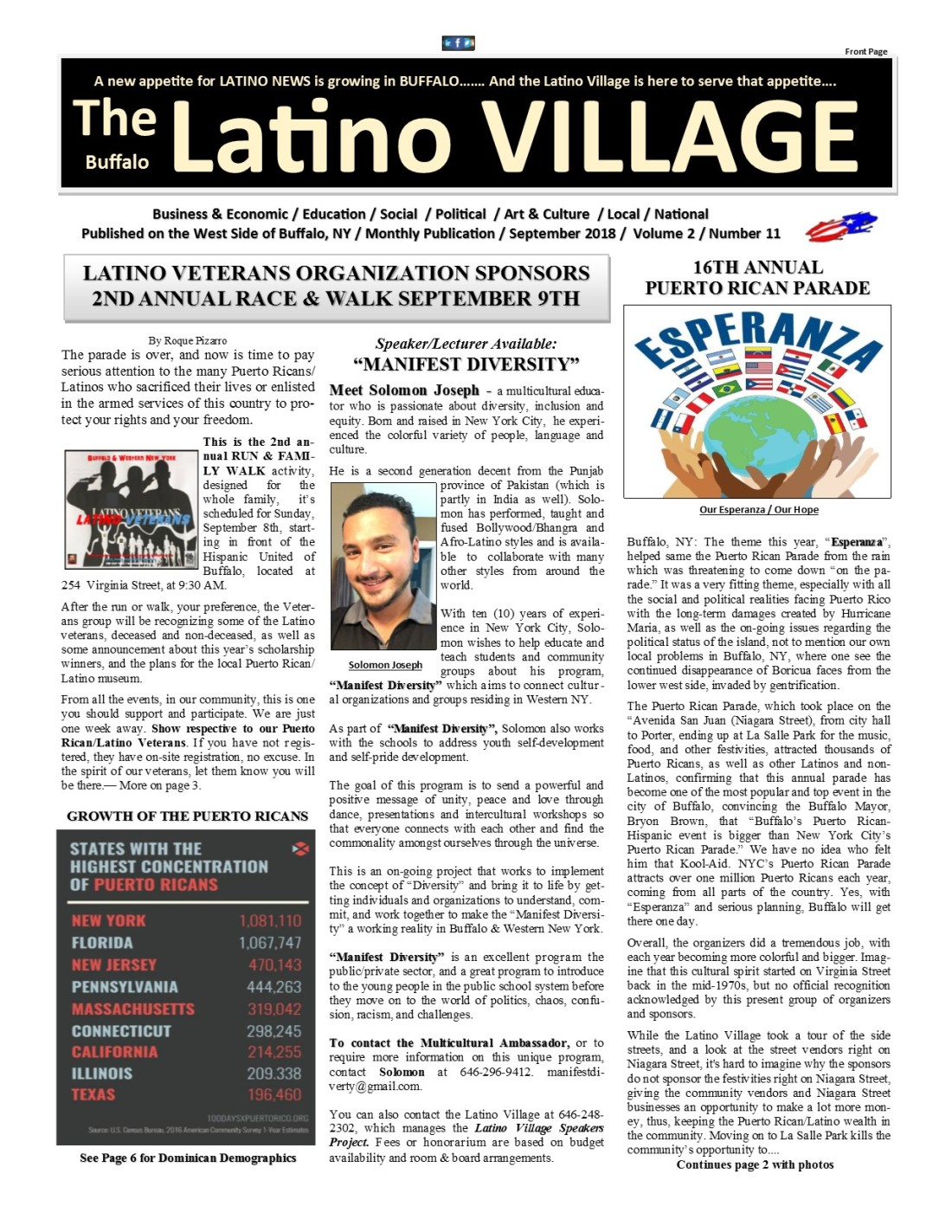 Page 1 Latino Village Newslette September Issue 2018 No. 11