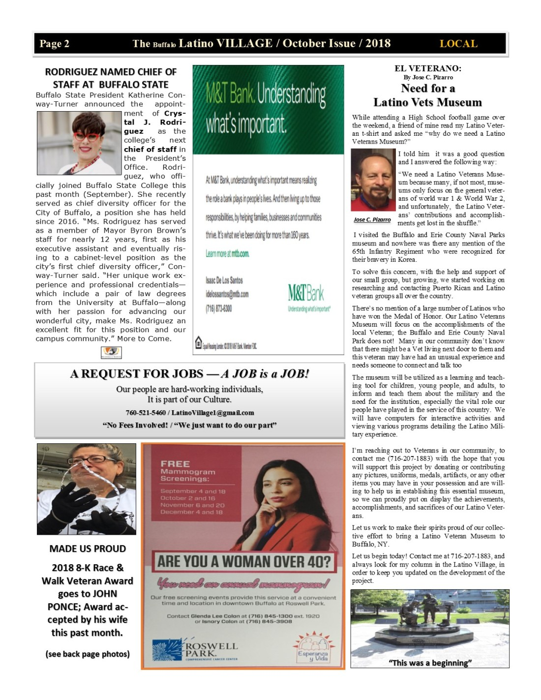 Page 2 Latino Village Newslette October Issue 2018 No. 12