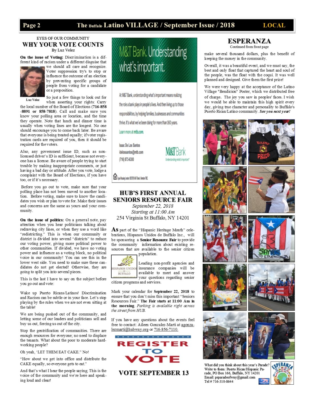 Page 2 Latino Village Newslette September Issue 2018 No. 11