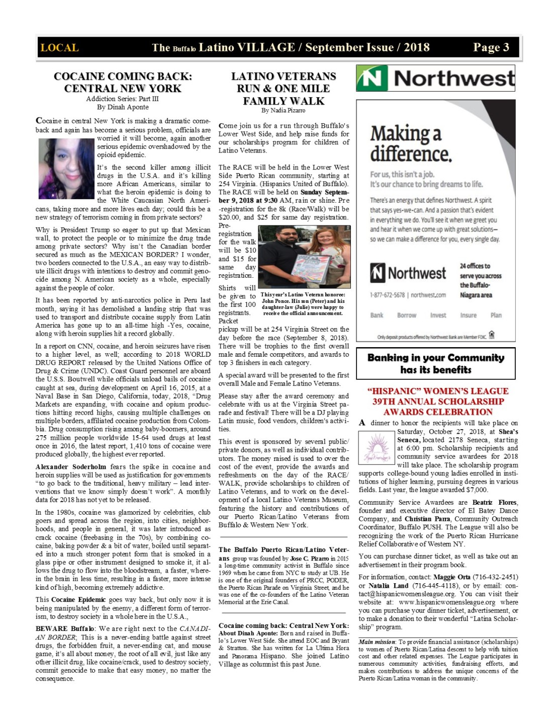 Page 3 Latino Village Newslette September Issue 2018 No. 11