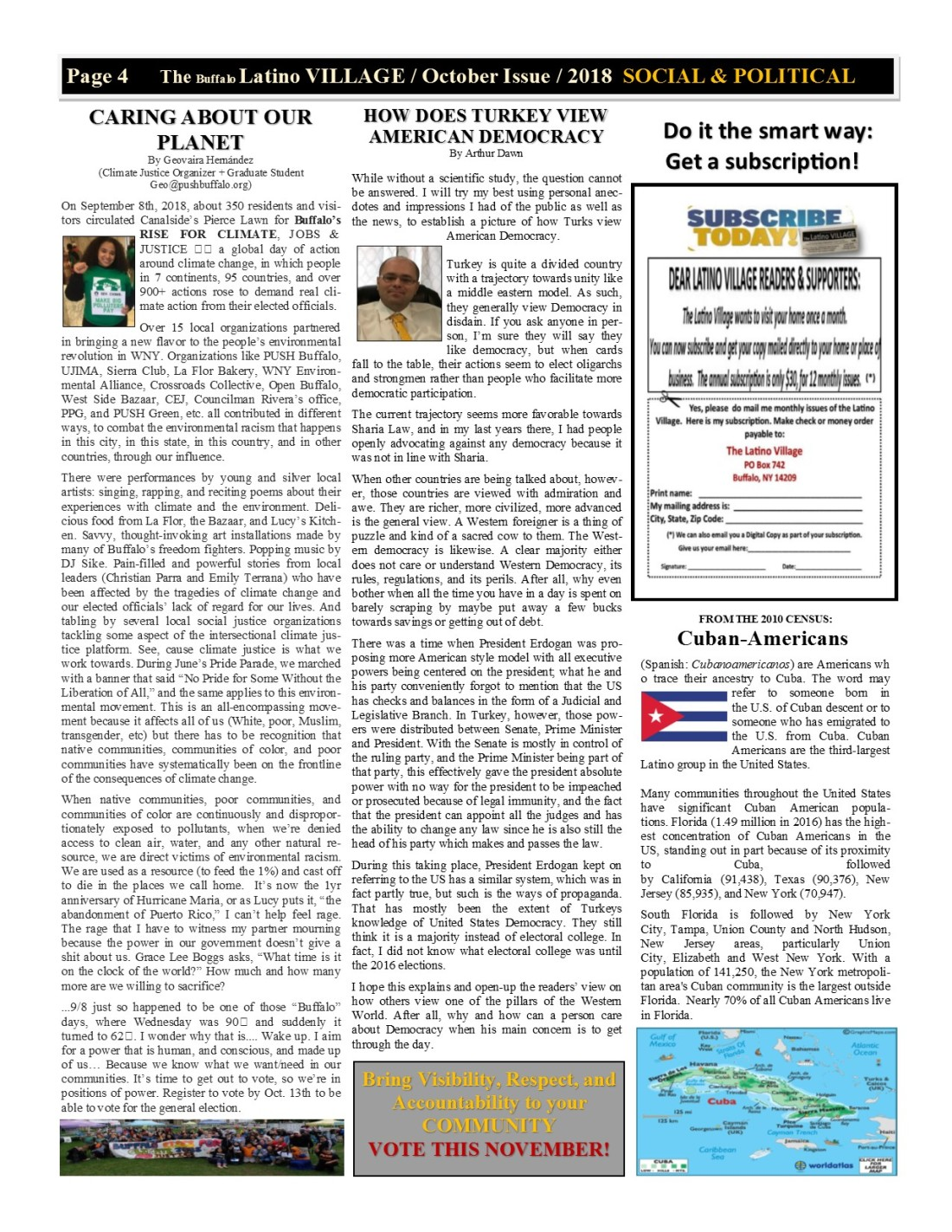 Page 4 Latino Village Newslette October Issue 2018 No. 12