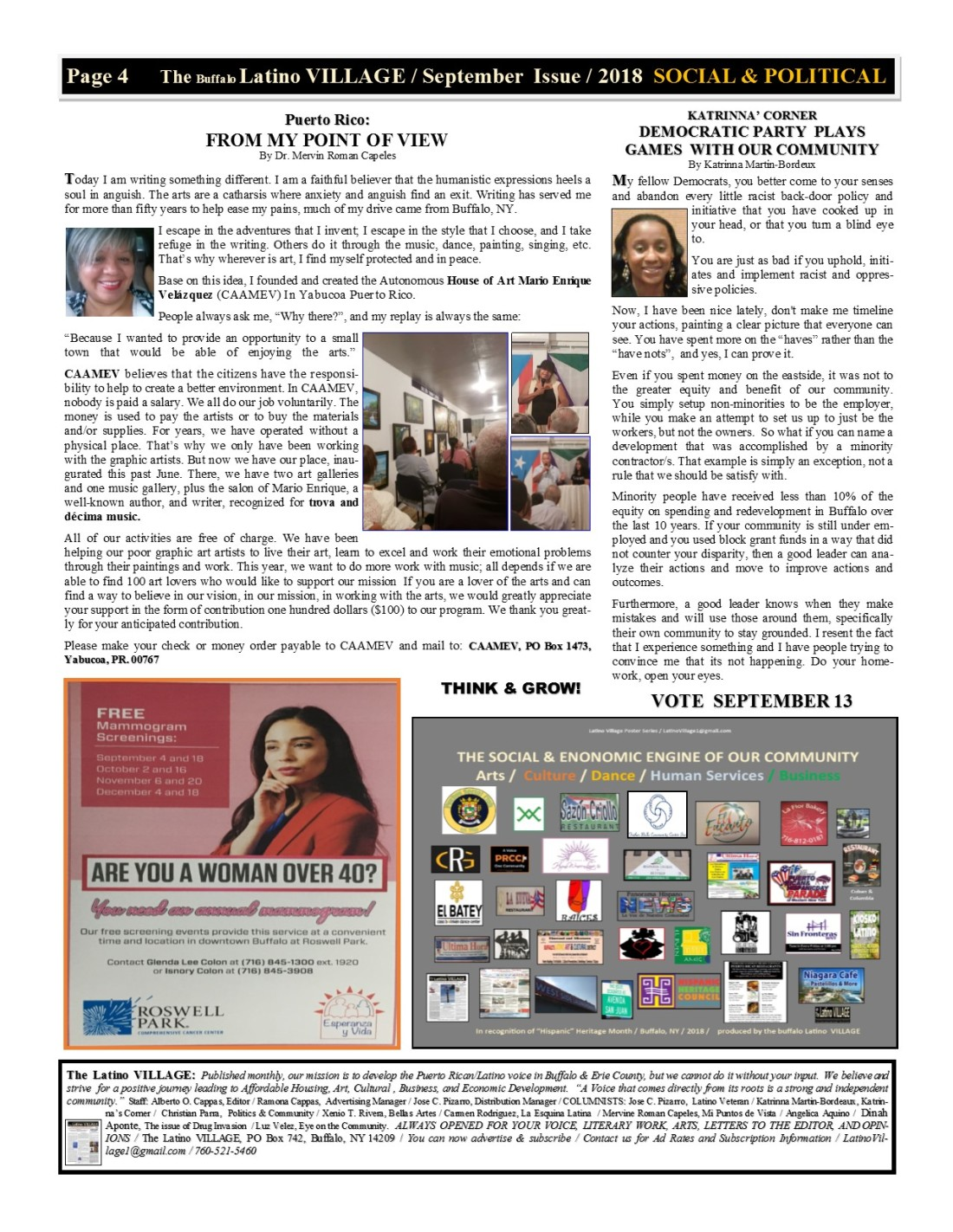Page 4 Latino Village Newslette September Issue 2018 No. 11