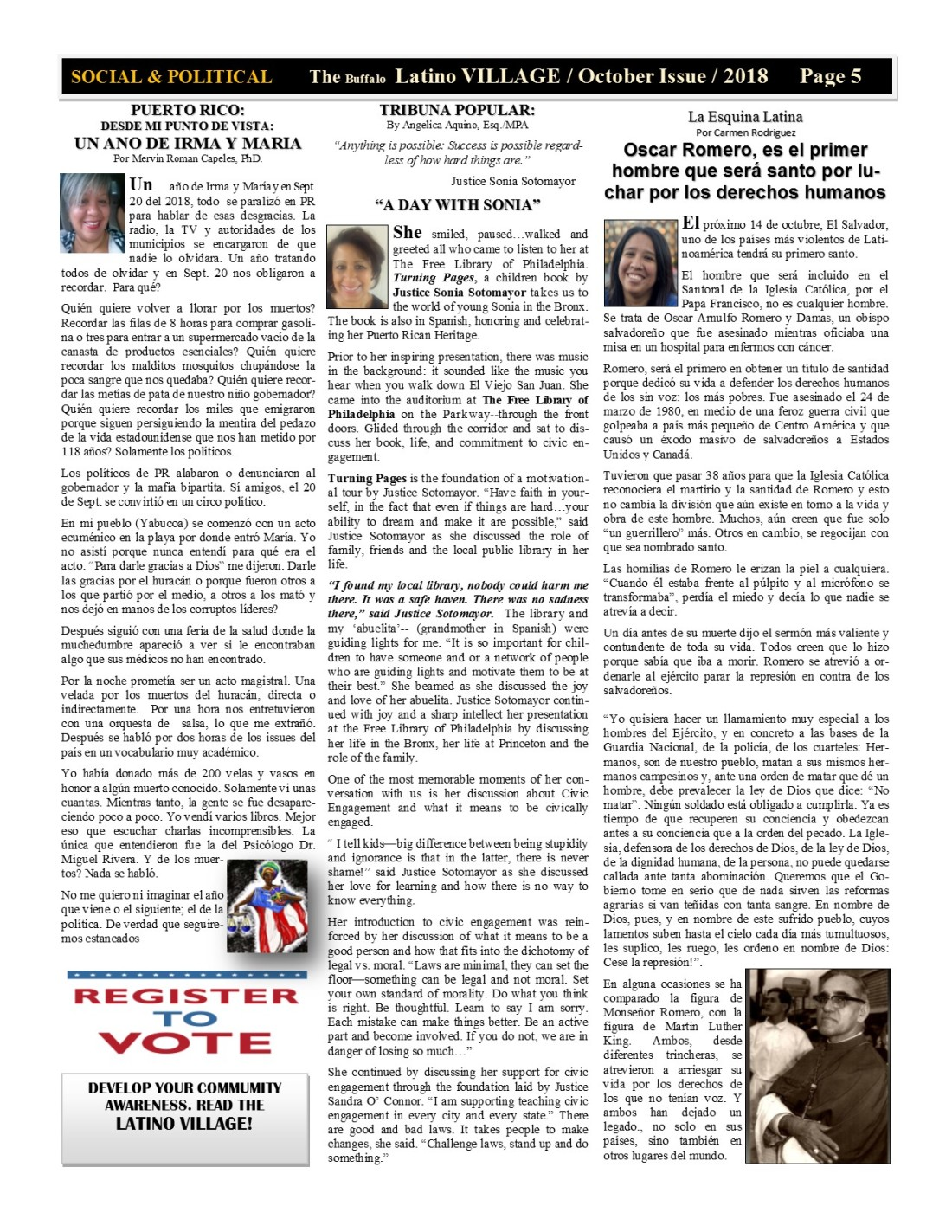 Page 5 Latino Village Newslette October Issue 2018 No. 12