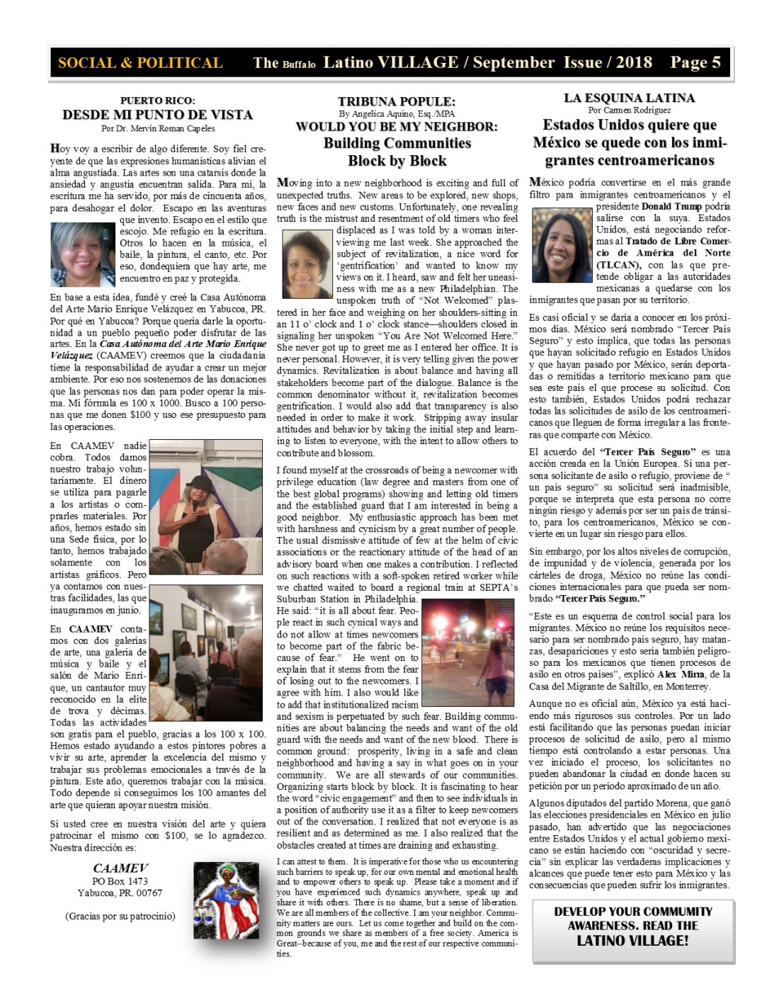 Page 5 Latino Village Newslette September Issue 2018 No. 11