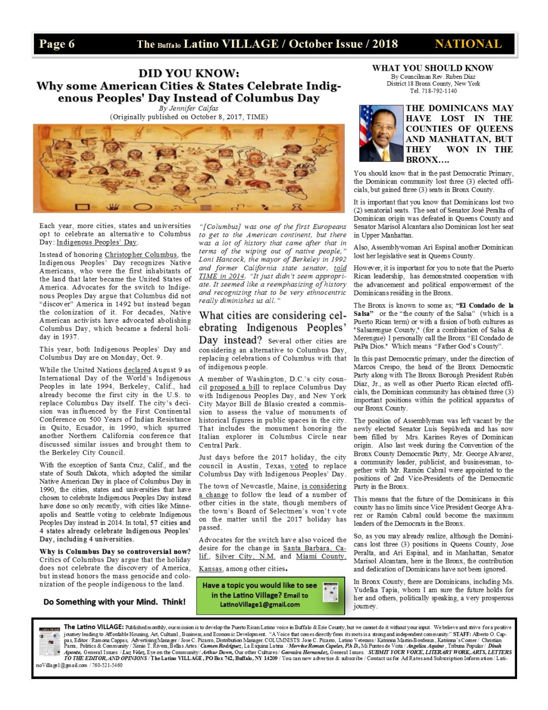 Page 6 Latino Village Newslette October Issue 2018 No. 12