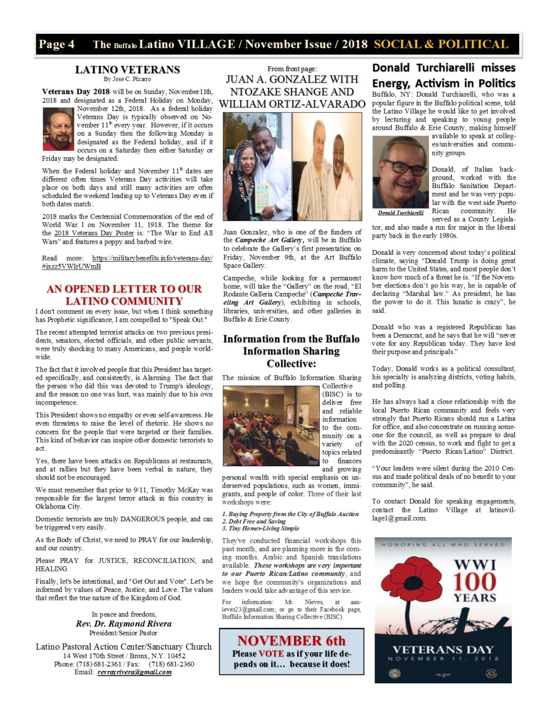 Page 4 Latino Village Newslette November Issue No 13