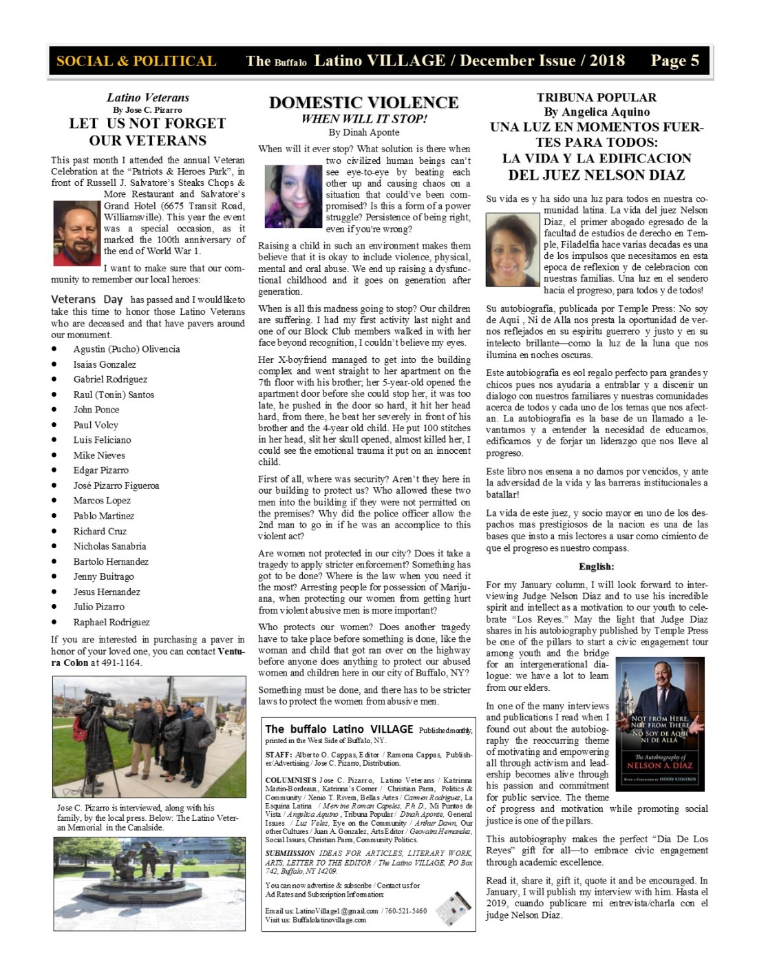 Page 5 Latino Village Newslette December Issue Volume 2 No 14