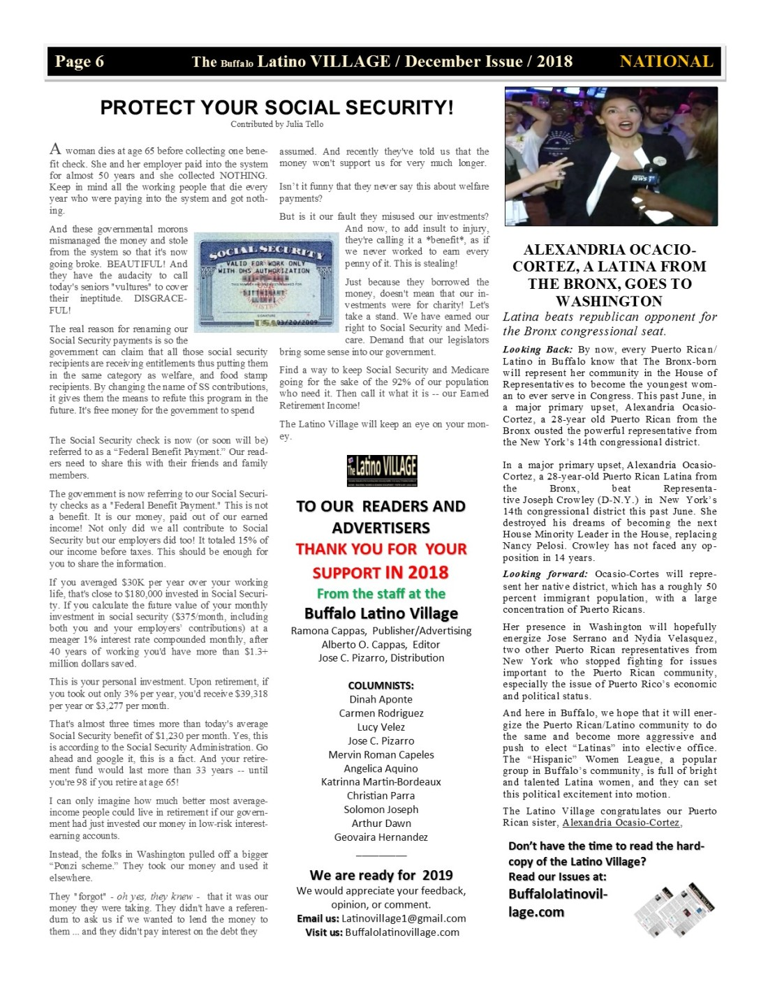 Page 6 Latino Village Newslette December Issue Volume 2 No 14