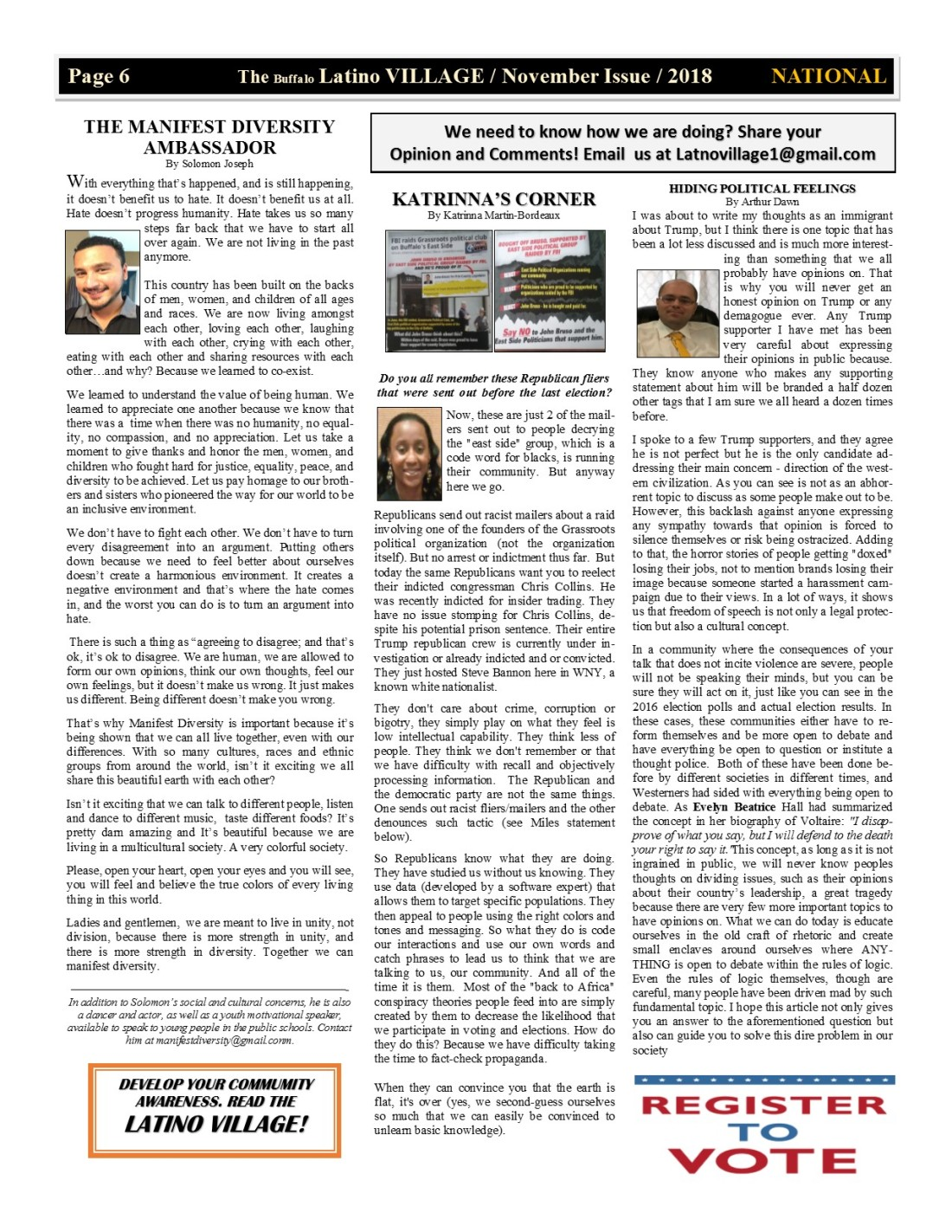 Page 6 Latino Village Newslette November Issue No 13