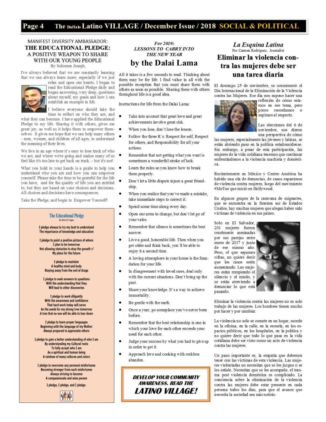 Pager 4 Latino Village Newslette December Issue Volume 2 No 14