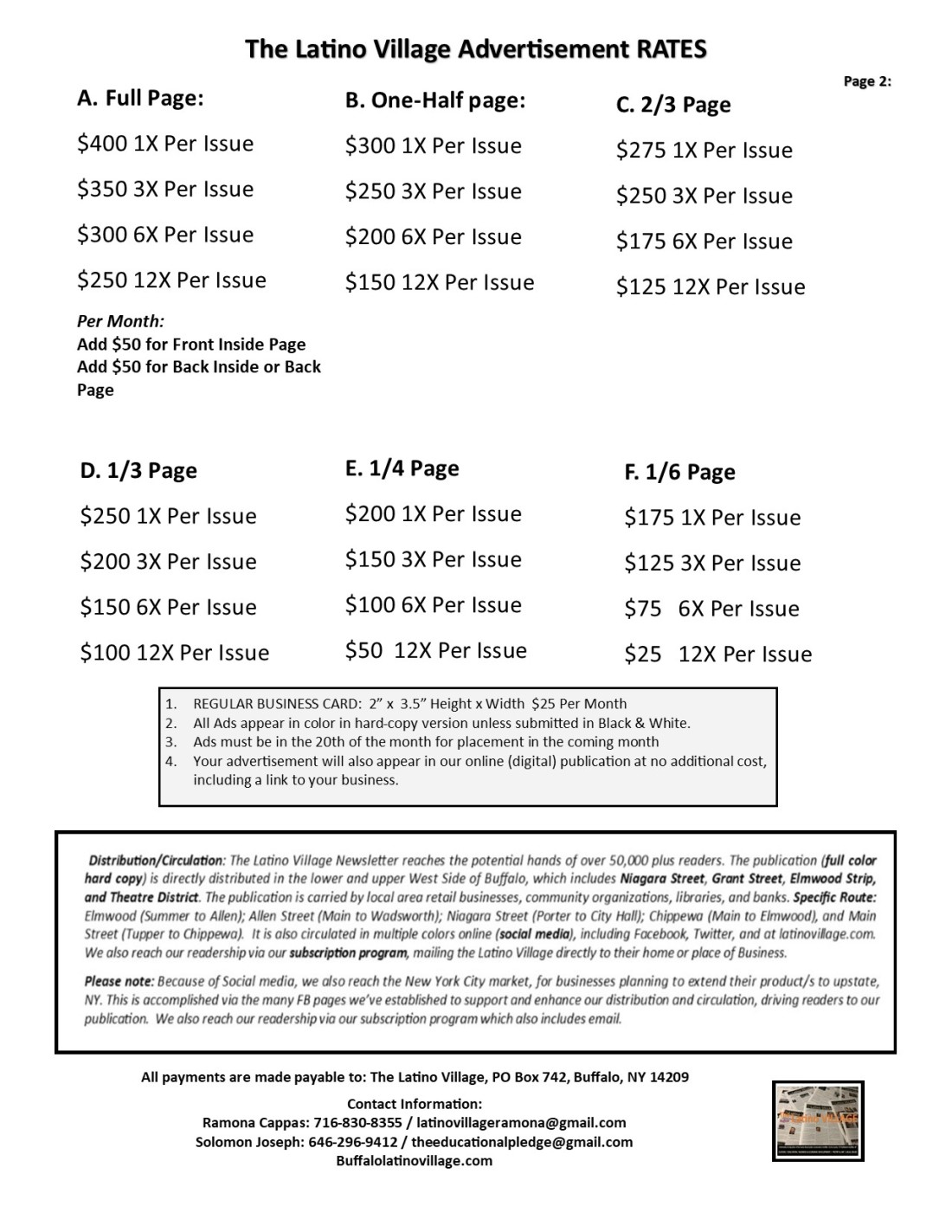 Page 3 Advertising Rates 4 pages Jan 2020