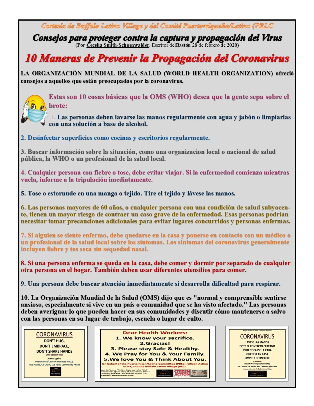10 ways to stay safe from the Coronavirus SPANISH.pub