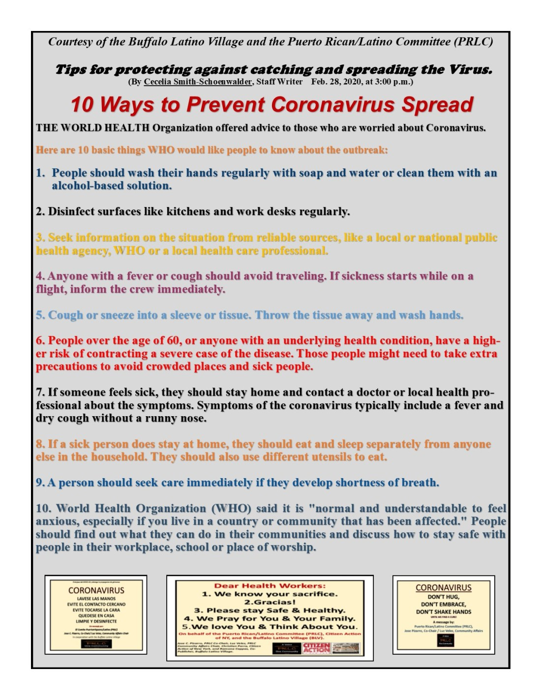Ten Ways to stay safe from the coronavirus