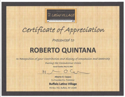 Award to Roberto Quintana for his service during the Coronavirusjpeg