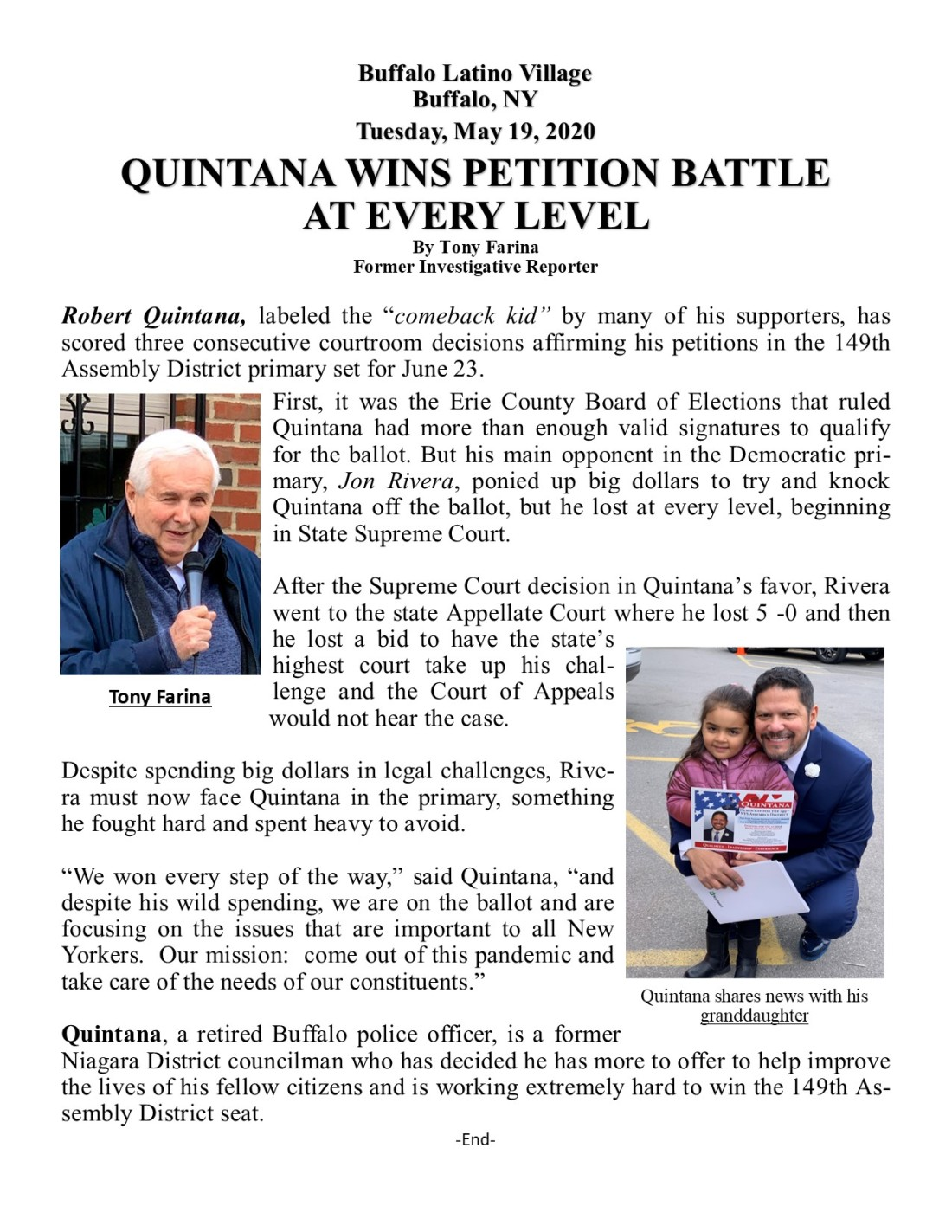 Quintana Wins Court Case May 18, 2020